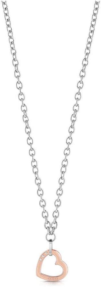 Guess, collana donna con ciondolo a forma di cuore in acciaio ip rose gold. UBN29073-FBA