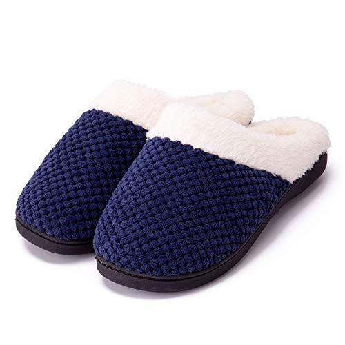 FHKBB Zapatillas de casa para Mujer, Espuma viscoelástica, Suaves, Suaves y cálidas, Unisex con Suela Antideslizante, cómodos Zapatos de algodón para Interior al Aire Libre, Invierno, AZ