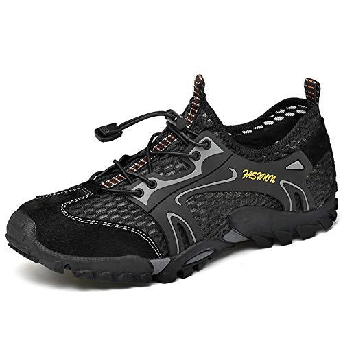 Hombre Senderismo Zapatos Ligeros Transpirables Al Aire Libre Sandalias de Malla Secado Rápido Entrenamiento Descalzo Zapatillas para Caminar en el Agua (Negro, Numeric_43)