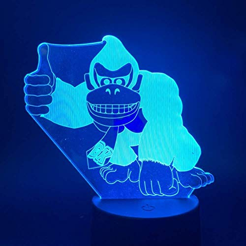 Luce notturna 3D Regalo a 7 colori Luce notturna a LED Gioco Donkey Kong Touch Switch Luce notturna a batteria USB Decorazioni per bambini