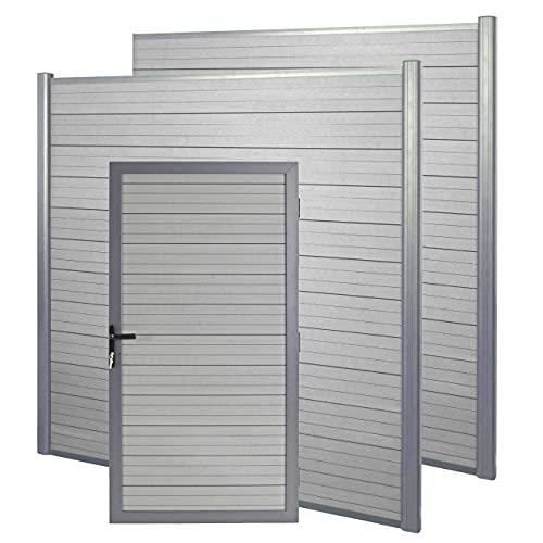 Mendler WPC-Sichtschutz mit Türe Sarthe, Windschutz Zaunelement Tor, 3er Set WPC-Pfosten - grau