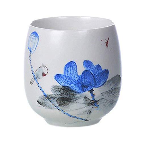 N\C Tazón de cerámica de gran capacidad japonesa taza de té antigua de 180 ml, diseño vintage de pájaros