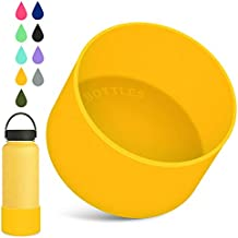 Protective Silicone Boot Sleeve for Hydro Flask 12oz-40oz Water Bottles Accessories Anti-Slip Bottom Sleeve Cover BPA Free Pet Feeding Bowl for Puppy Cat (Yellow, Fits 12oz to 24 oz Bottles)