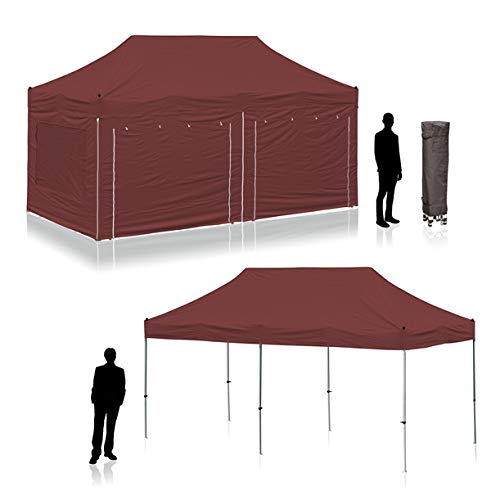 Sun Leisure 6mx3m Professional Commercial Gazebo, POP-UP Tent Instant Shelter Marquee (Silver (including 6x sidewalls))