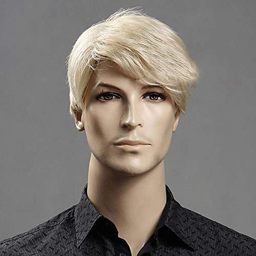 Fluffy Korte Blonde Rechte Pruik Voor Mannen Synthetische Hittebestendige Haar Pruiken voor Dagelijkse slijtage Halloween 8