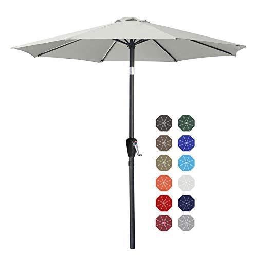 ABCCANOPY 270cm Sonnenschirm im Freien Wasserabweisende Bespannung -Gartenschirm Marktschirm,Hellbeige