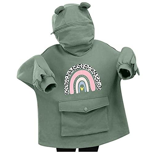 NAQUSHA Women's Frog Hoodie Autumn Winter Leisure Halloween Fashion Creative Splicing Three-dimensional Cute Design Pocket Pullover Long Sleeve Sweatshirt Zip Pullover, Green, XL