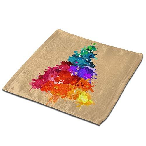 GCDT Toalla cuadrada 3d colorida pintura del rbol de Navidad ultra suave y altamente absorbente toallas de mano paos para el hogar, hotel, spa, cocina, 33 x 33 pulgadas