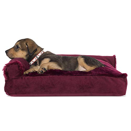 Furhaven Pet Dog Bed - Plush Faux Fur and Velvet L Shaped Chaise Lounge Pillow Cushion Sofa-Style Living Room Corner Couch Pet Bed with Removable Cover for Dogs and Cats, Merlot Red, Small
