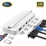 タイプ C アダプタ, iFory タイプ C ハブ 8イン1 usbタイプc ハブ 4K HDMI/VGA付 1Gbps RJ45 イーサネット ポート 2 ポート3.0 USB SD/TFカード リーダー 100W Pd 充電 ポートMacBook/Pro/Air タイプ C Windows ラップトップ用 8 イン 1ホワイト