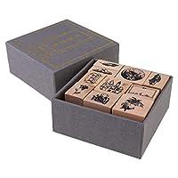 EXCEART 10ピース木製シールスタンプセット現代要素パターンスタンプ付き収納ボックスレトロアートクラフトスタンプ用キッズ大人