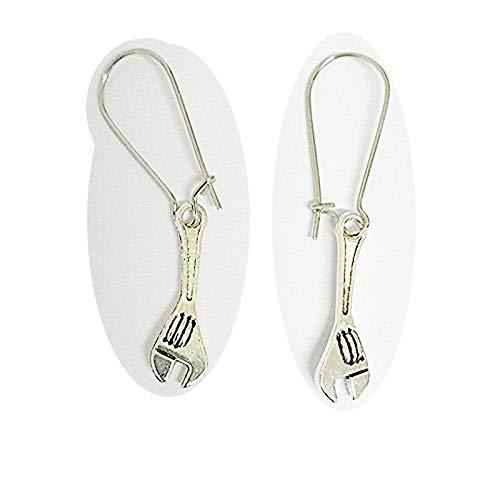 Pendientes de llave inglesa, colgante de llave, arete de herramienta, pendientes de llave, colgante de llave inglesa, joyería mecánica