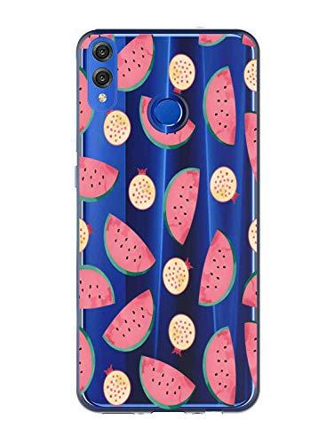 Oihxse Case Transparente Suave TPU Compatible con Huawei P Smart Z Funda [Lindo Caricatura Flor Serie Dibujos] Cristal Protector Carcasa Anti Rasguños Bumper Cover-Sandía