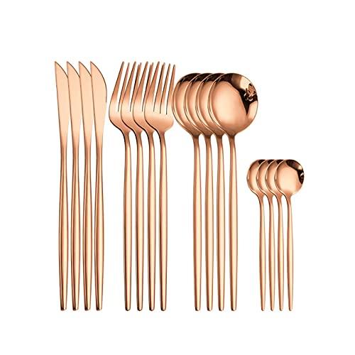Set de vajilla de oro de rosa Cubiertos de acero inoxidable Cuchillo de regalo Tenedor Cucharada Cuchara Cuádruple Cubiertos Cubiertos Cocina Sistema Dropshipping (Color : Rosegold 16pcs)