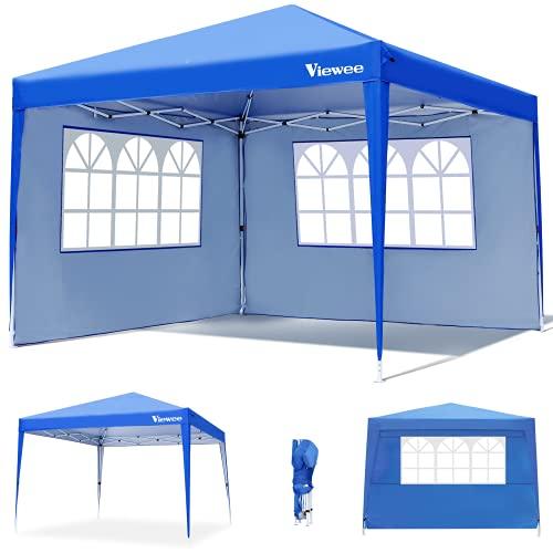 Viewee Pavillon 3x3 Wasserdicht - Faltpavillon mit 2 Seitenteilen und Fenster, UV 50 Schutz, Verstellbaren Beinen, Gartenpavillon für Garten, Picknick, Strände, Partys