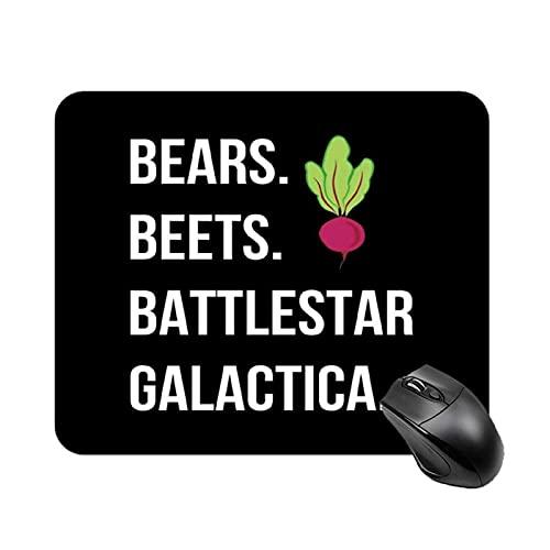 Bears Beets Battlestar Galactica The Office US Alfombrilla de Mesa Antideslizante de Alta Velocidad para Juegos, Alfombrilla de ratón con Base de Goma Cuadrada para Oficina, Alfombrilla de Escritorio
