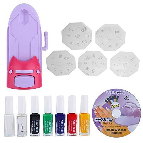 dgtrhted Stampante for Le Nail Art Portatile per Fai da Te Unghie Timbro Drawing Stampa Kit Smalto for Unghie