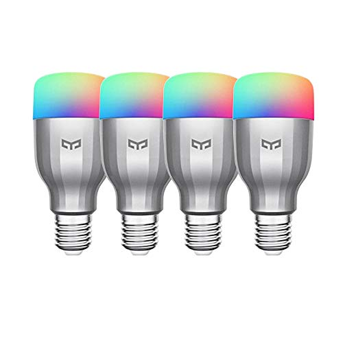 9W Application vocale pour ampoule Yeelight RGB WiFi à intensité variable compatible avec Alexa et Google Assistant (4-Pack)