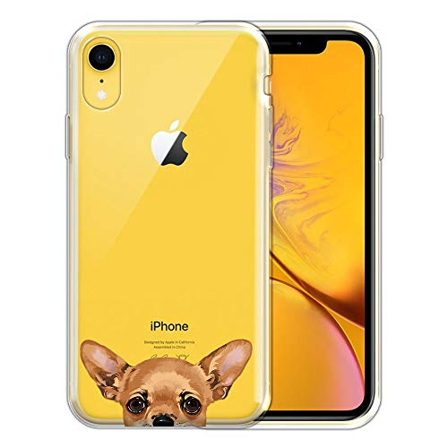 FINCIBO Case Compatible with Apple iPhone XR 6.1 inch, Clear Transparent TPU Silicone Protector Case Cover Soft Gel Skin for iPhone XR - Fawn Apple Head Chihuahua Dog