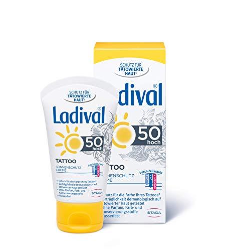 LADIVAL Tattoo Creme LSF 50, Schützende Sonnencreme für tätowierte Haut, ohne PEG Emulgatoren, silikon- und mineralölfrei, 50 ml