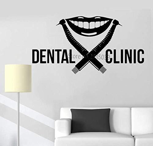 Muestra De La Clínica Dental Etiqueta De La Pared Dentista Señalización Taladro Diente Sonrisa Estomatología Dientes Calcomanía Mural Vinilo Pegatinas Decoración Carteles 81 * 42Cm