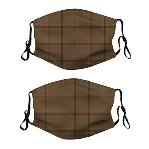 2 mascarillas lavables con lazo ajustable para la oreja, tela escocesa antigua en marrón envejecido, cubierta de la boca reutilizable y transpirable para hombres y mujeres