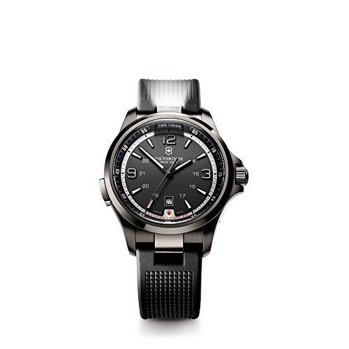 Victorinox Swiss Army Night Vision 241596 - Reloj analógico de Cuarzo para Hombre, Correa de Goma Color Negro (Agujas luminiscentes)