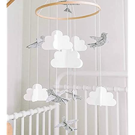 Lit Boules de Feutre,bébé carillons éoliens,Bébé berceau mobile musical,Mobile musical pour lit de bébé,Mobile bébé musical (B) (blanc)