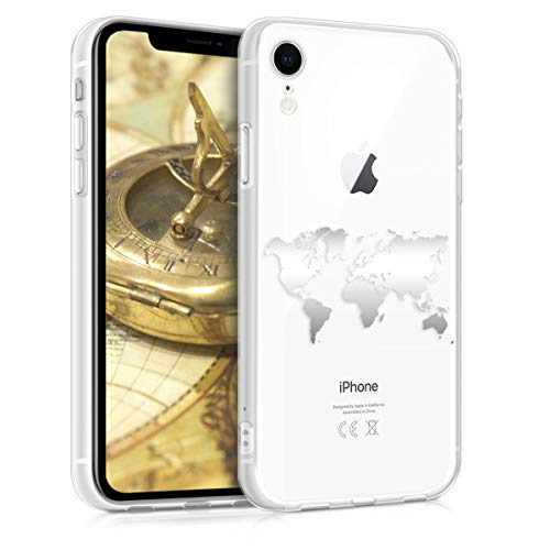 kwmobile Hülle kompatibel mit Apple iPhone XR - Handyhülle - Handy Case Travel Umriss Silber Transparent