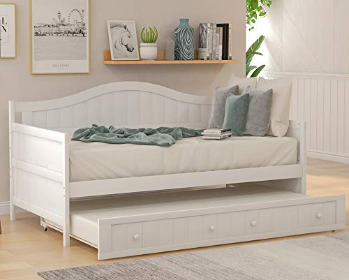 Harper & Bright Designs Wood Daybed with a Trundle, Twin Trundle Daybed Sofa Bed Frame for Bedroom, Guest Room, Living Room