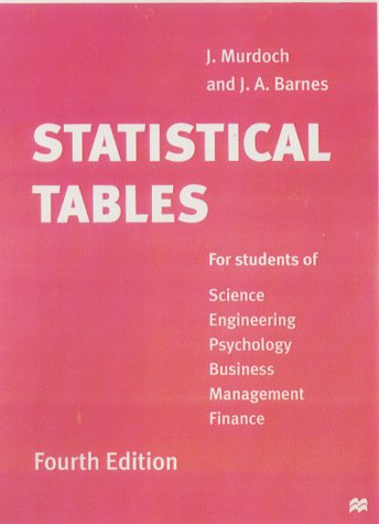 Statistical Tables: For students of Science Engineering Psychology Business Management Finance