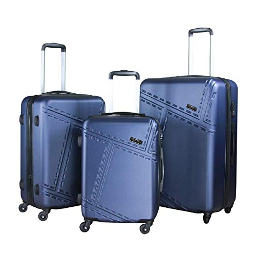 HyBrid & Company Luggage Set Durable Lightweight Spinner Suitcase LUG3-1610, 3 Pieces, Navy