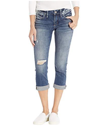 Silver Jeans Co. Women's Elyse Curvy Fit Mid Rise Capri Jean, Power Stretch Medium, 27W
