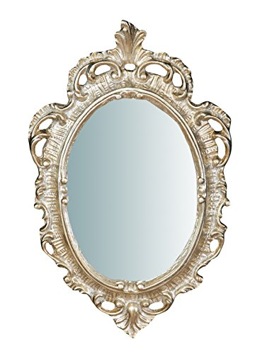 Biscottini Specchio Specchiera da parete stile Shabby in legno con finitura argento anticato misure L19xPR2xH30 cm produzione Artigianato Fiorentino Made in Italy