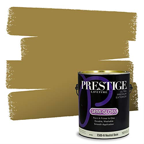 Prestige Paints Exterior Paint and Primer In One, 1-Gallon, Semi-Gloss, Comparable Match of Sherwin Williams* Brassy*
