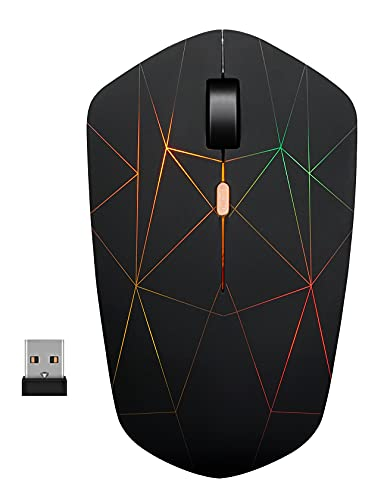 Wireless Mouse Chargeable, Backlit Powered by Li-Polymer Battery, with Optical Sensor Nano USB Receiver,3 Stage DPI Speed, 4 Buttons for PC, Laptop, Tablet, MacBook (Firework Light)