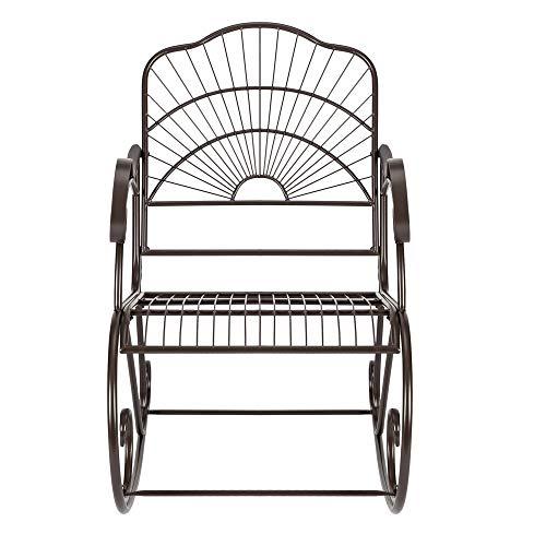 RSTYS, sedia a dondolo in ferro battuto, sedia a dondolo per patio, patio, giardino, piscina, prato all'aperto