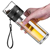 Ceoon 13oz Double Wall Glass Water Bottle Tea and Water Separation Tea Bottle Mug Cup with Tea Infuser (Black)