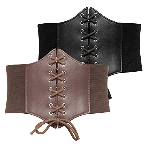 1920s Corset Belt for Big and Tall Women Steampunk Corset (3XL,Black+Coffee)