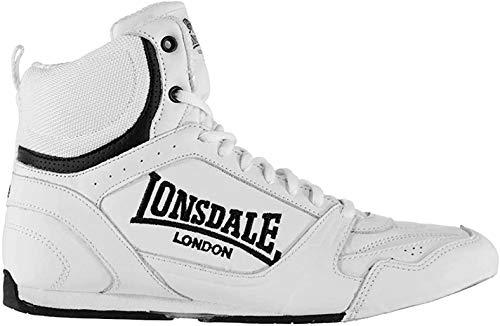 Lonsdale Herren Boxschuhe Boxen Stiefel Turnschuhe Schnuerschuhe Sport Schuhe Weiß/Schwarz 8 (42)
