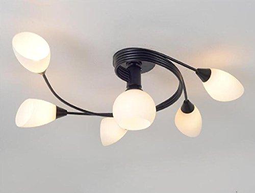 OOFAY Lampadario Camera Letto Moderno Lampada Faretti da Soffitto LED Plafoniera Lampadario Bagno Rontondo Cucina Faretti Orientabili Lampada da Salotto,5+1Heads