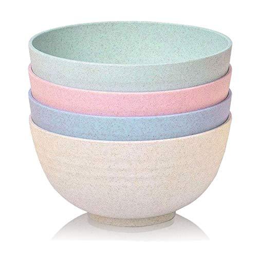 BOBBOLA BowlsForNature® nachhaltige Müslischalen groß 800ml 4er-Set - Salatschüssel groß, Bowl Schüssel, Ramen Schüssel - Weizenstroh Geschirr umweltfreundliche Müslischalen Set und Schüssel Set
