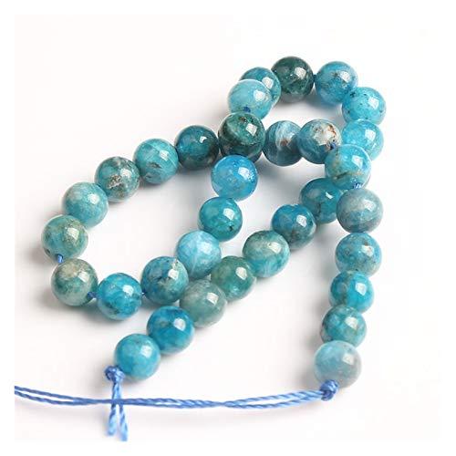 ZITENG CGBH Joyas Naturales 4/6/8/10 mm Azul apatita Perlas Sueltas DIY Hombres y Mujeres Pulsera Tobillera Accesorios Collar (Color : Apatite, Talla : 10mm 19beads)