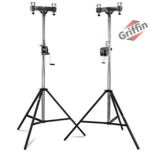GRIFFIN Crank Lighting Truss Stands   T Adapter Bar & DJ Booth Trussing System for Light Cans & Speakers   Pro-Audio Stage Platform Hardware Mounting Package   PA Equipment Gear Holder for Live Music