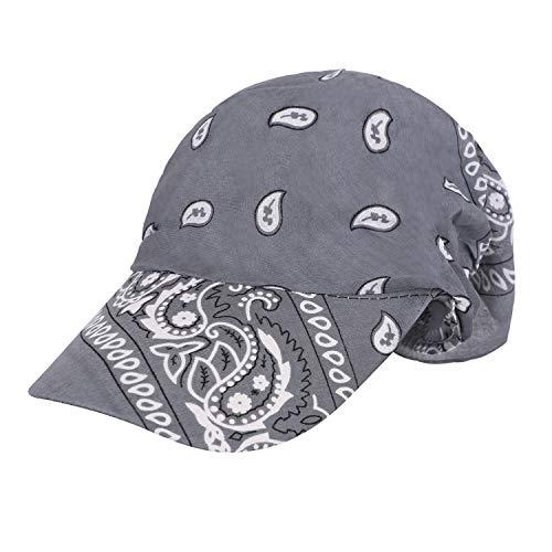 Jiahg - Bandana deportiva para hombre y mujer, para correr, ciclismo, secado rápido, protección UV, gorro pirata, Gorra gris con visera.