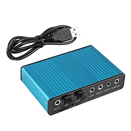 HWZDQLK Tarjeta de Sonido Externa de 6 Canales 5.1 Sonido Envolvente USB 2.0 Adaptador de Tarjeta de Sonido de Audio Externo S/PDIF óptico for PC Grabación en computadora portátil Compatible con Win