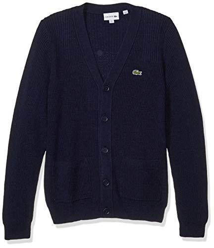 Lacoste Mens Long Sleeve Knit Effect Classic Sweater Cardigan Sweater, Navy Blue, M
