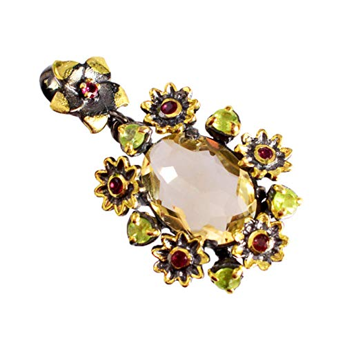 Citrine, Peridot & Garnet 925 Sterling Silver Gold Plated Necklace For Women & Girls