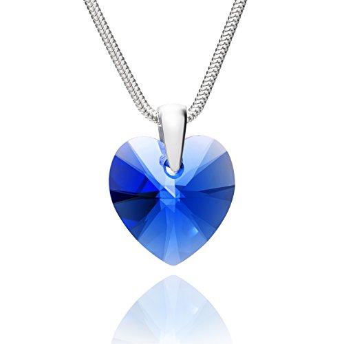 LillyMarie Donne Collana Argento 925 Swarovski Elements Originali Cuore blu Zaffiro Lunghezza Regolabile Confezione Regalo per la Fidanzata