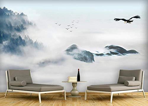 Papel Pintado 3D Paisaje De Tinta China Y Nubes. Fotomurales Pared Dormitorio Papel Pintado Fotográfico Mural